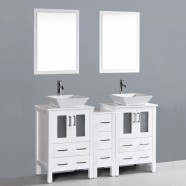 60 In. Freestanding Bathroom Vanity Set with Double Sinks and Mirrors (DK-T9161-60W)