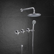 Bathroom Single Handle Tub and Shower Faucet - Brass with Chrome Finish (7544)