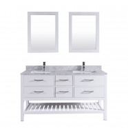 60 In. Freestanding Bathroom Vanity Set with Double Mirrors and Sinks (DK-T9223-60)