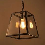 Iron Built Matte Black Vintage Pendant Light with Glass Shade (DK-2010-D1)