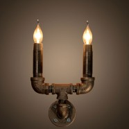 2-Light Iron Built Rust Vintage Pipe Wall Sconce (DK-6104-B2)