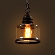 Iron Built Matte Black Vintage Pendant Light with Glass Shade (DK-2513-D1A)