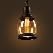 Iron Built Matte Black Vintage Pendant Light with Glass Shade (DK-2513-D1B)