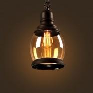 Iron Built Matte Black Vintage Pendant Light with Glass Shade (DK-2513-D1B)