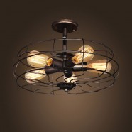 5-Light Iron Built Rust Vintage Ceiling Light (DK-5001-X5)