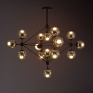 15-Light Iron Built Black Vintage Glass Ball Pendant Light (DK-5133-D15)