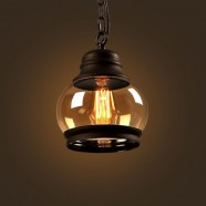 Iron Built Matte Black Vintage Pendant Light with Glass Shade (DK-2513-D1C)