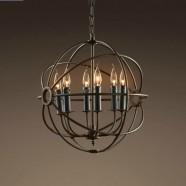 3-Light Iron Built Rust Vintage Globe Chandelier (DK-5013-D6)