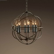 6-Light Iron Built Rust Vintage Globe Chandelier (DK-5013-D6)