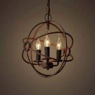 3-Light Iron Built Rust Vintage Globe Chandelier (DK-5013-D3)