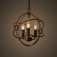 3-Light Iron Built Rust Vintage Globe Chandelier (DK-5013-D3)