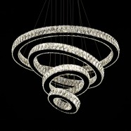 4-Ring Stainless Steel Built Modern LED Crystal Chandelier with Remote Control (DK-TC5200)