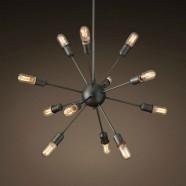 12-Light Iron Built Matte Black Vintage Sputnik Chandelier (DK-5010-D12B)