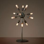 12-Light Iron Built Matte Black Vintage Sputnik Filament Table Lamp (DK-5010-T12)