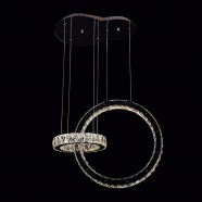 Stainless Steel Built Modern LED Crystal Chandelier with Remote Control and 2 Rings (DK-LD8015)