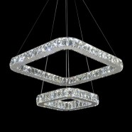 Rectangle Stainless Steel Built Modern LED Crystal Chandelier with Remote Control (DK-LD8836)