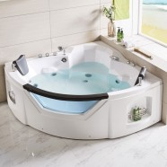 61 x 61 In Fan Shaped Back to Wall Whirlpool Tub with Double Pillow (DK-Q312N)