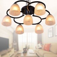 7-Light Black Wrought Iron Chandelier with Glass Shades (DK-820-7)