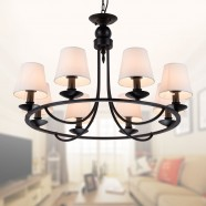 8-Light Black Wrought Iron Chandelier with Cloth Shades (DK-2027-8A)