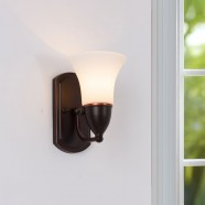 Single-Light Black Wrought Iron Wall Sconce with Glass Shades (DK-8037-1W)