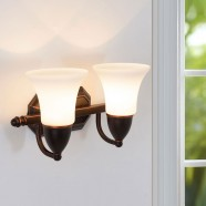 2-Light Black Wrought Iron Wall Sconce with Glass Shades (DK-8037-2W)