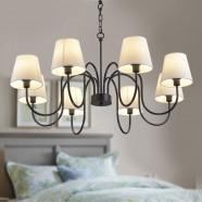 8-Light Black Wrought Iron Chandelier with Cloth Shades (DK-7059-8)