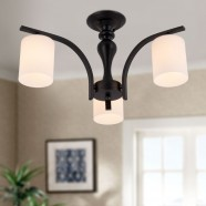 3-Light Black Wrought Iron Chandelier with Glass Shades (DK-5302-3)