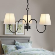 3-Light Black Wrought Iron Chandelier with Cloth Shades (DK-7059-3)