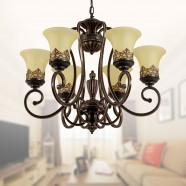 6-Light Black Wrought Iron Chandelier with Glass Shades (DK-6318-6S)
