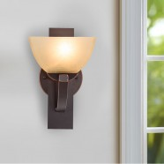 Single-Light Black Wrought Iron Wall Sconce with Glass Shades (DK-8016-1W)