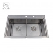 Stainless Steel Double Bowl Kitchen Sink (DLR3018-R10)