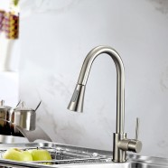Brushed Nickel Finished Brass Kitchen Faucet - Pull Out Spray Head (82H14-BN)