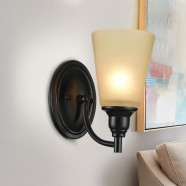 1-Light Black Wrought Iron Wall Sconce with Glass Shades (DK-8023-1W)