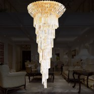 27-Light Gold Crystal Hall Chandelier (HY02SJD030B)