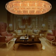 36-Light Large Gold Crystal Ceiling Light (HY02SJX042B)