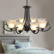 8-Light Black Wrought Iron Chandelier with Glass Shades (DK-8019-8)