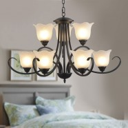 9-Light Black Wrought Iron Chandelier with Glass Shades (DK-8019-6+3)