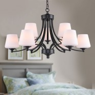 9-Light Black Wrought Iron Chandelier with Cloth Shades (DK-8025-6+3)