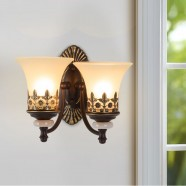2-Light Black Wrought Iron Wall Sconce with Glass Shades (DK-1001-2W)