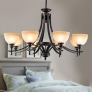 8-Light Black Wrought Iron Chandelier with Glass Shades (DK-8034-8)