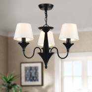 3-Light Black Wrought Iron Chandelier with Cloth Shades (DK-2012-3)