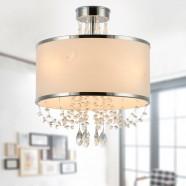 4-Light Modern Crystal Iron Chandelier with Fabric Shade (DK-RL7938-4)