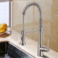 Brushed Nickel Finished Brass Kitchen Faucet - Pull Out Spray Head (82H07-BN-S)