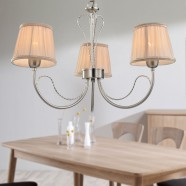3-Light Silver Iron Modern Chandelier with Fabric Shades (HKP31263-3)