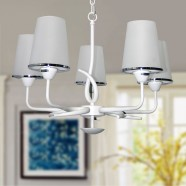 5-Light White Iron Modern Chandelier with Glass Shades (KD1202-5)
