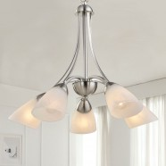 5-Light Silver Iron Modern Chandelier with Glass Shades (HKP31270-5)