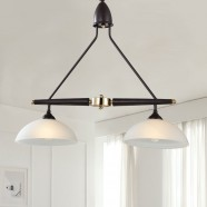 2-Light Brown Iron Modern Chandelier with Glass Shades (HKP31289A-2)