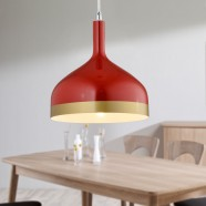 1-Light Red Aluminum Modern Pendant Light (HKP31439-1)