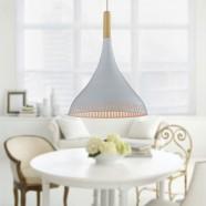 1-Light White Aluminum/Wood Modern Pendant Light (HKP31436-1)