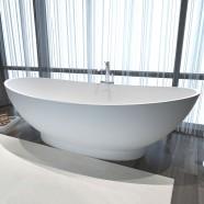 71 In Double Slipper Man-made Stone Freestanding Bathtub - Matte White (DK-HA8620)
